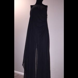 BLACK JUMPSUIT with Sheer Overlay